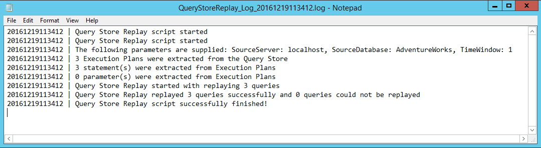 Query Store Replay Log