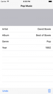 Album app showing populated table view