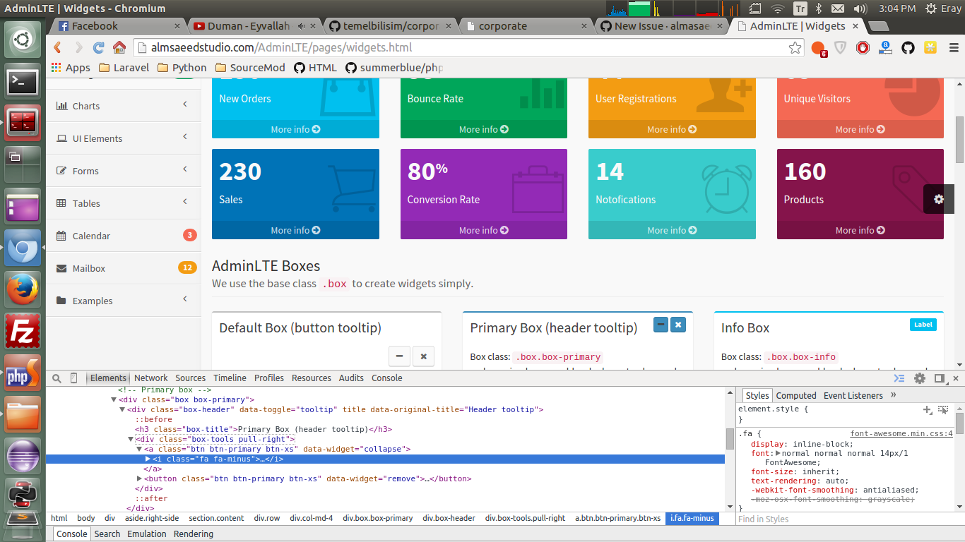 This is how the widgets page looks like (exactly like the original project  AdminLTE, but these are React components)