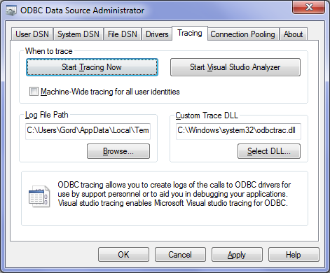 Troubleshooting – Generating an ODBC trace log · mkleehammer