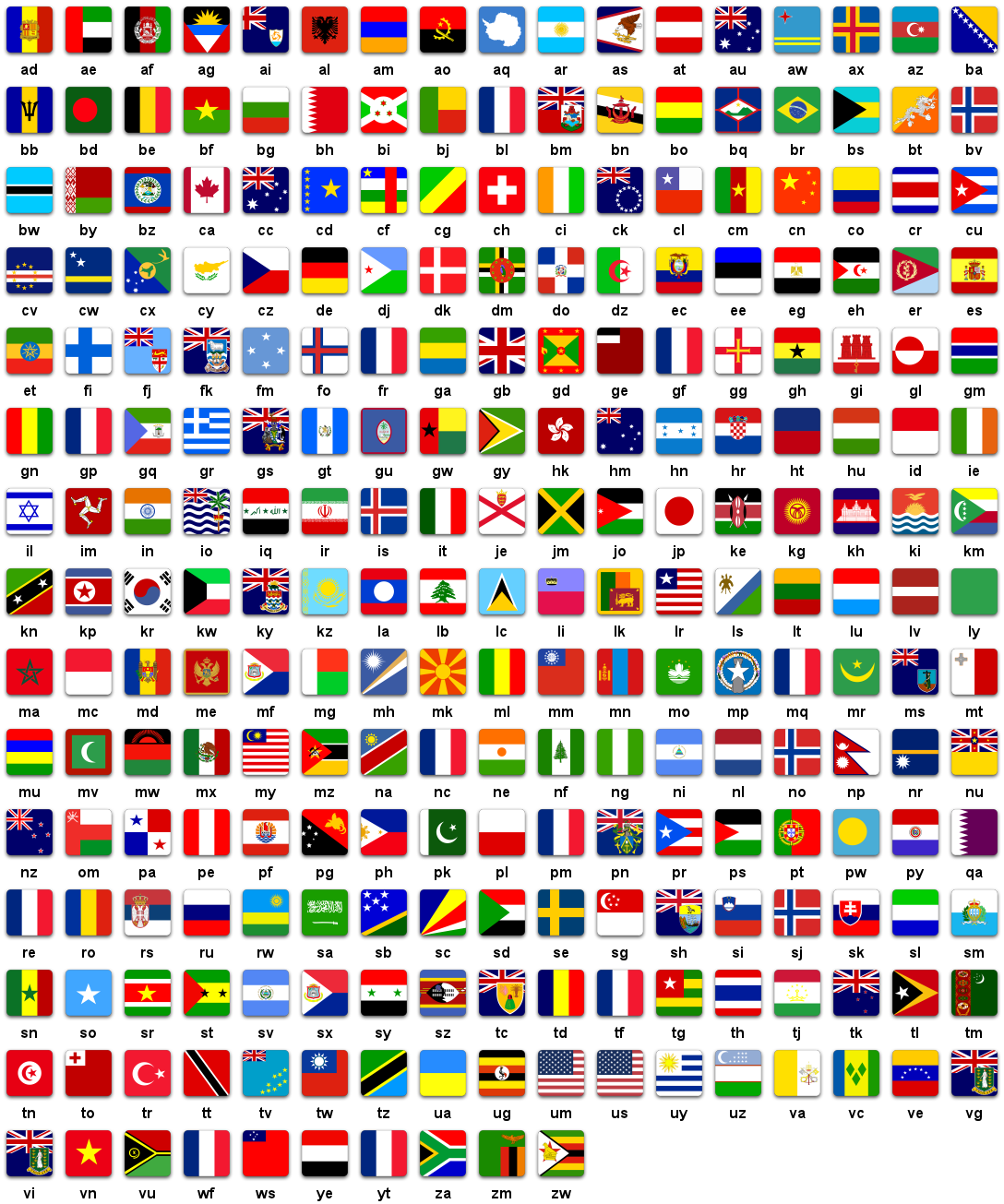 Iso Country Flags Sheet Flat Png