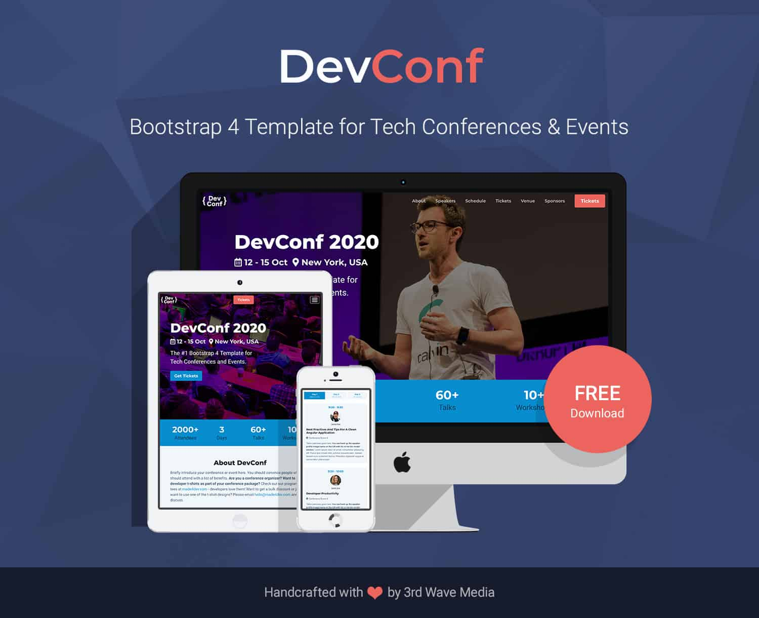 Bootstrap 4 Conference Template for Tech Conference and Event