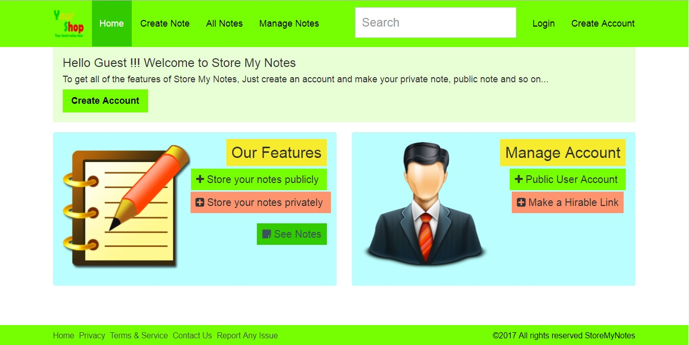 Main Page - Store My Notes