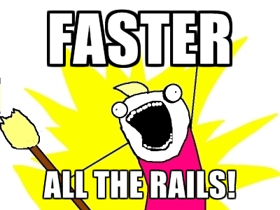 Screaming dude meme: FASTER ALL THE RAILS