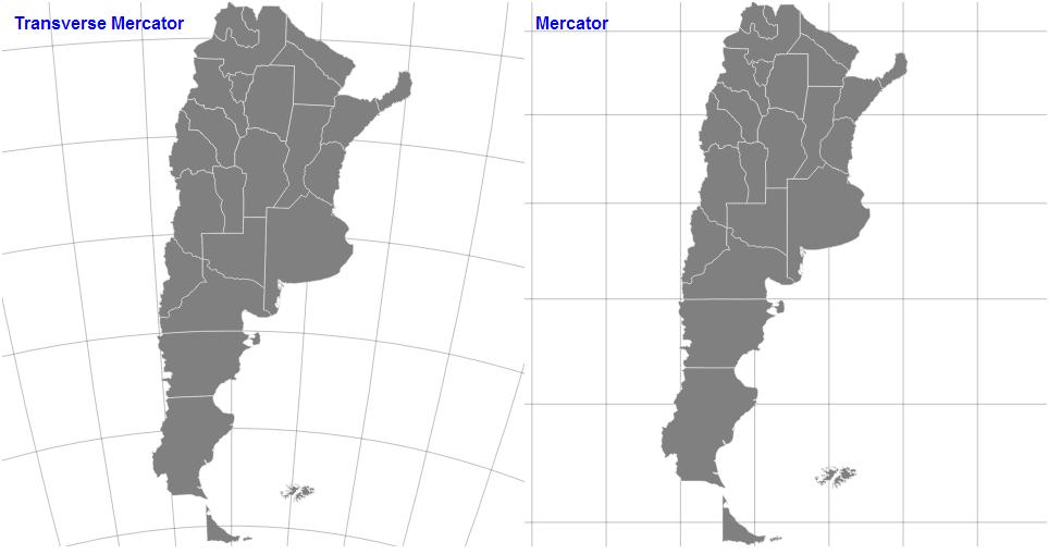 Transverse Mercator vs Mercator