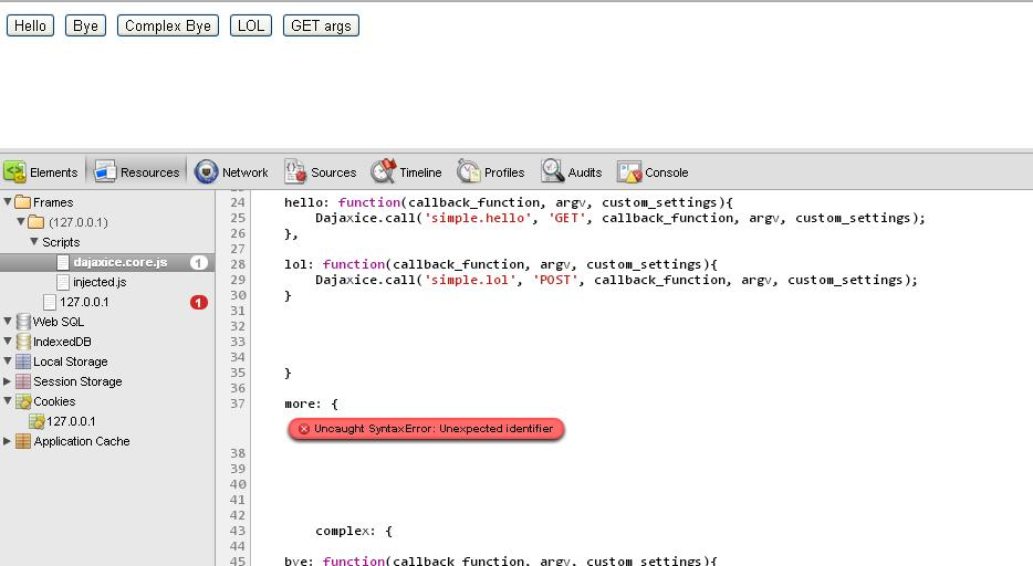 Example is not working: Uncaught syntax error: Unexpected identifier ...