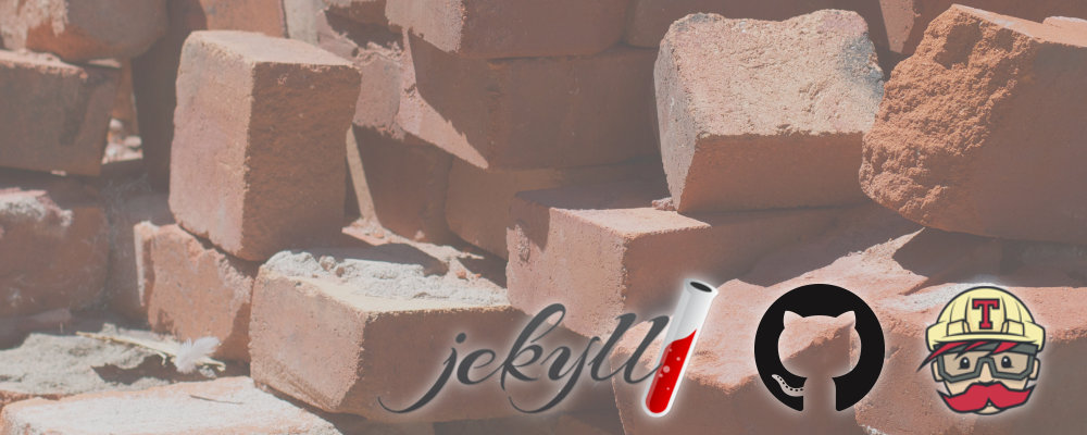 An image of bricks with the Jekyll, GitHub and Travis logos on it