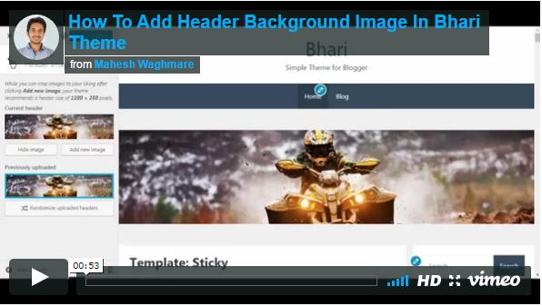 How To Add Header Background Image In Bhari Theme