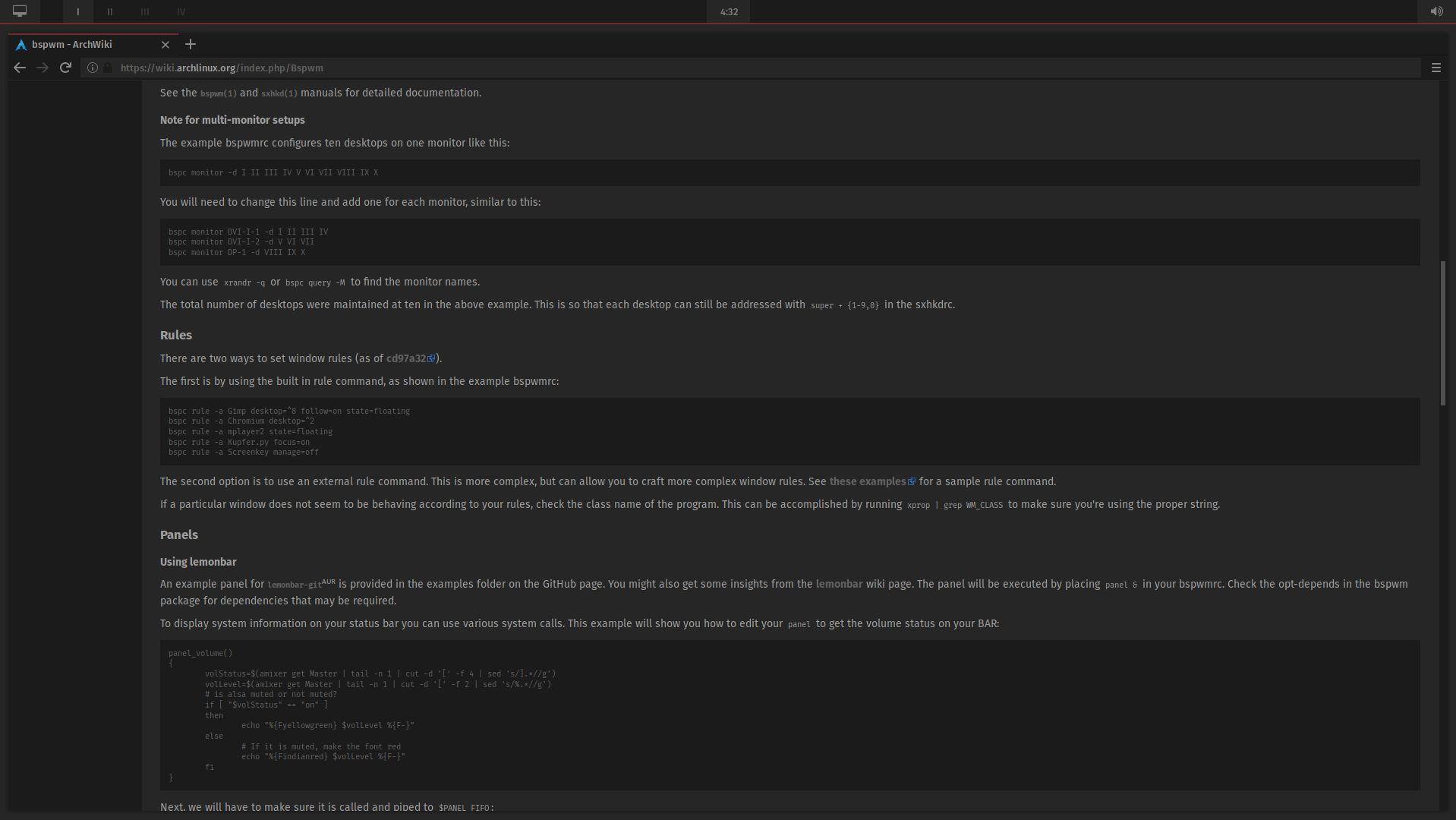 GitHub - Vixtron/bspwm: My bspwm, Arch Linux dotfiles