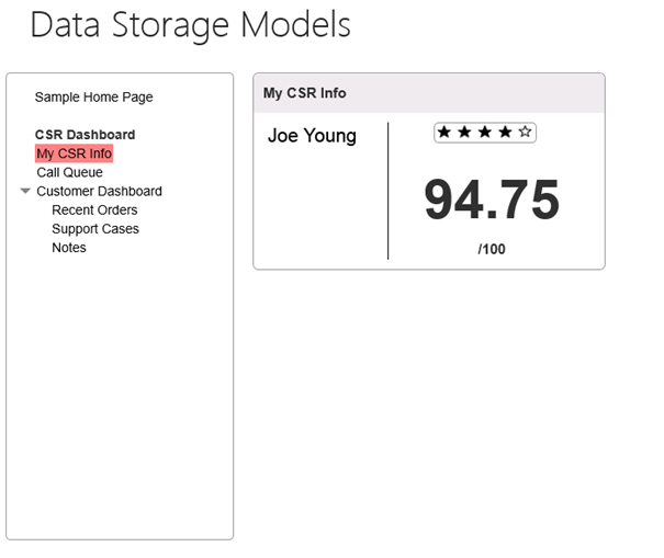 The Data Storage Models page, with My CSR Info link highlighted, and the CSR rating displayed.