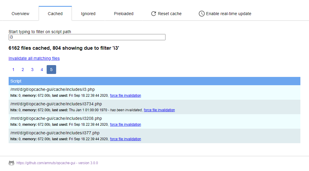 Screenshot of the Cached files list showing filtered results and pagination
