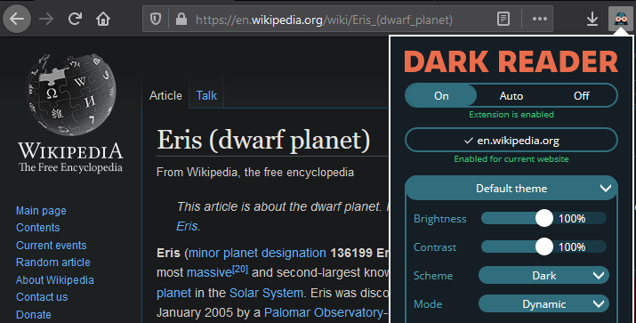 Dark Reader screenshot