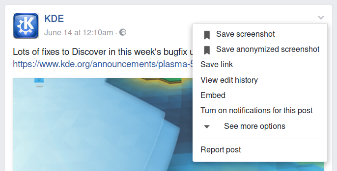 Screenshot of post's menu with add-on enabled