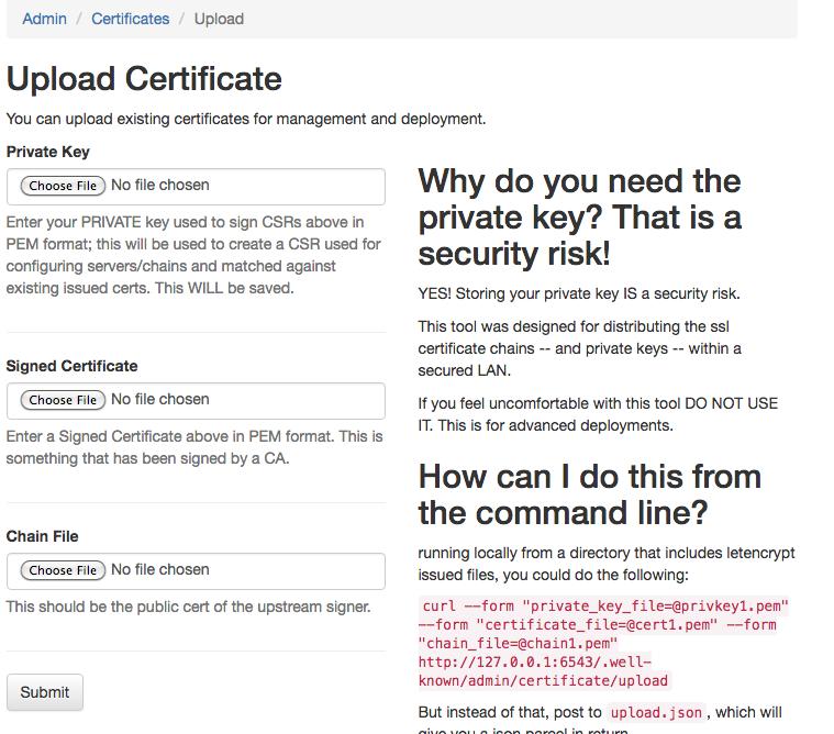 Upload Existing Certificates