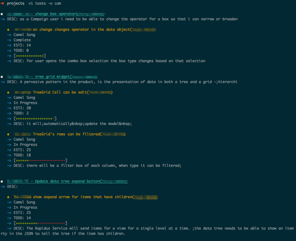 versionone-cli screenshot