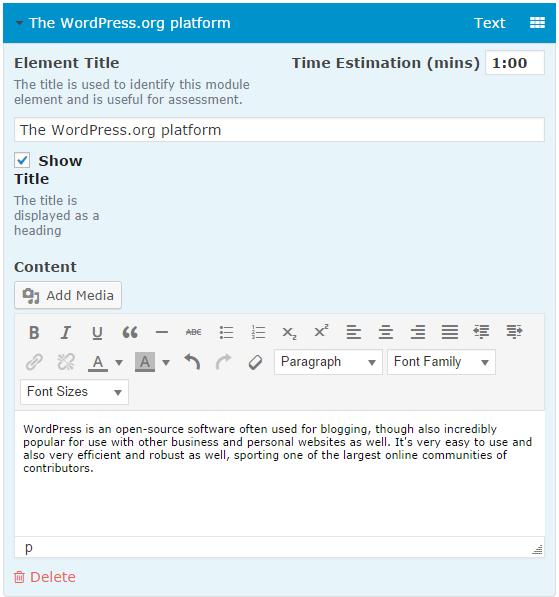 CoursePress - Course - Units - Elements - Text