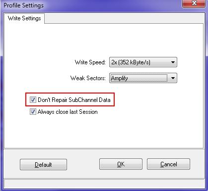 Don't repair SubChannel data