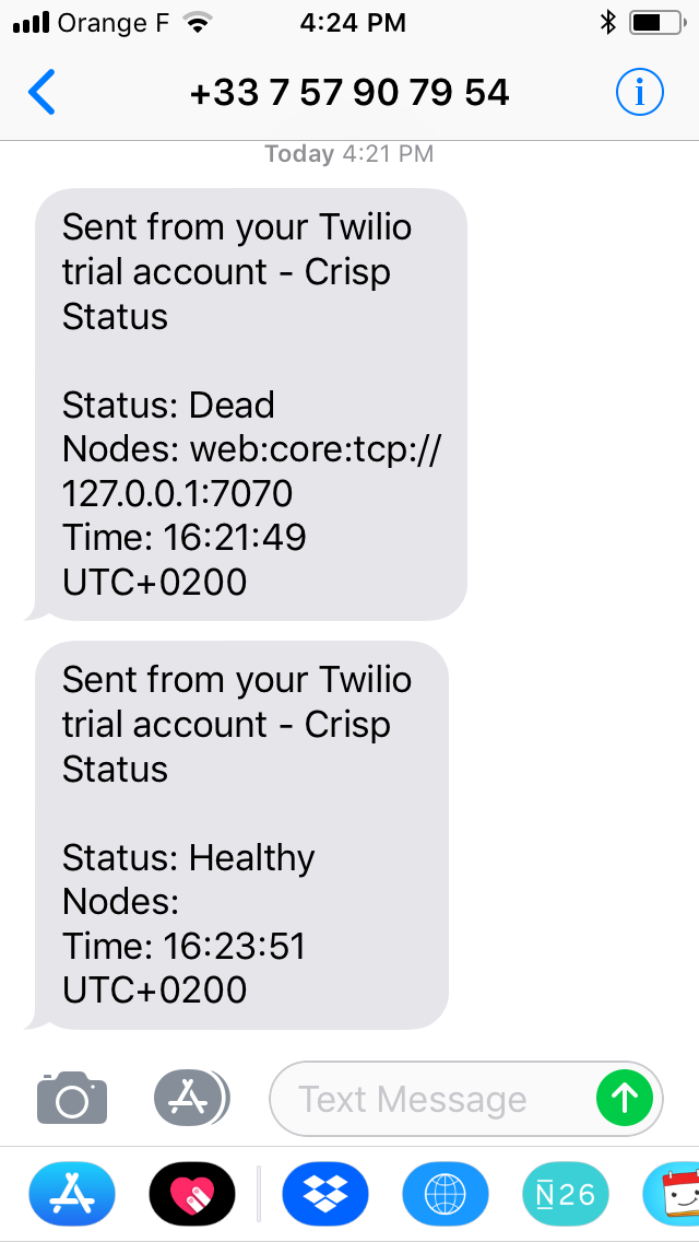 Vigil alerts on iPhone (Twilio SMS)