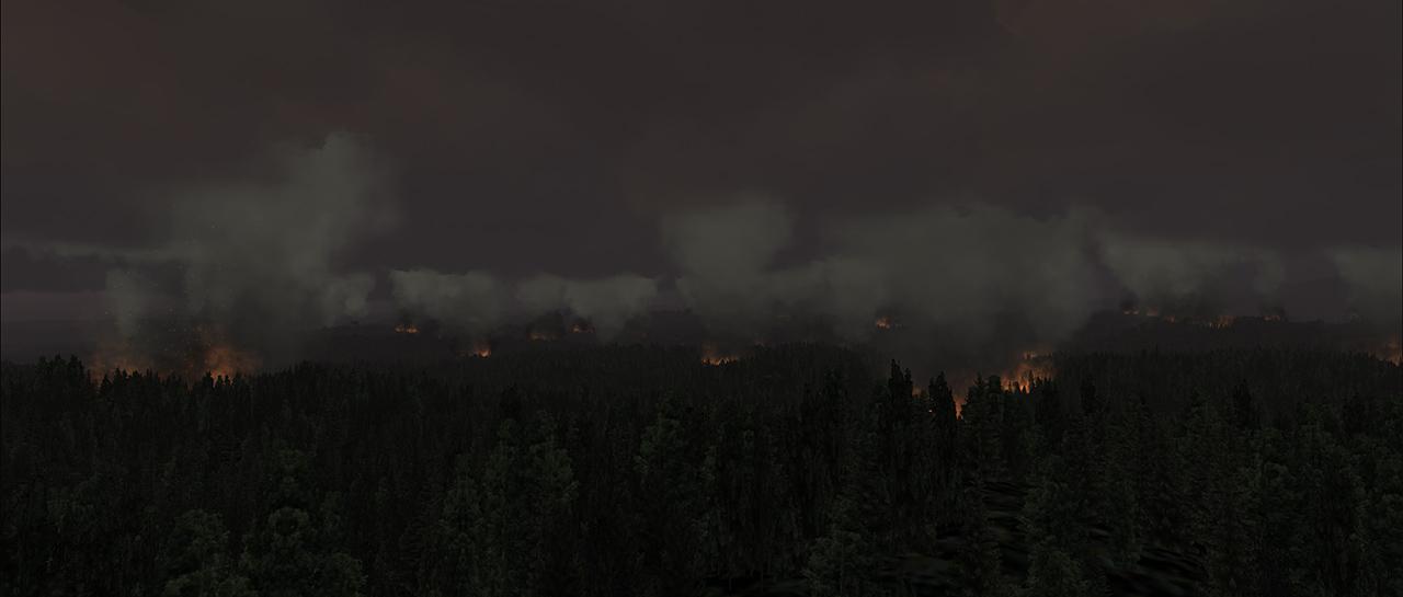 Screenshot of fires in the simulator