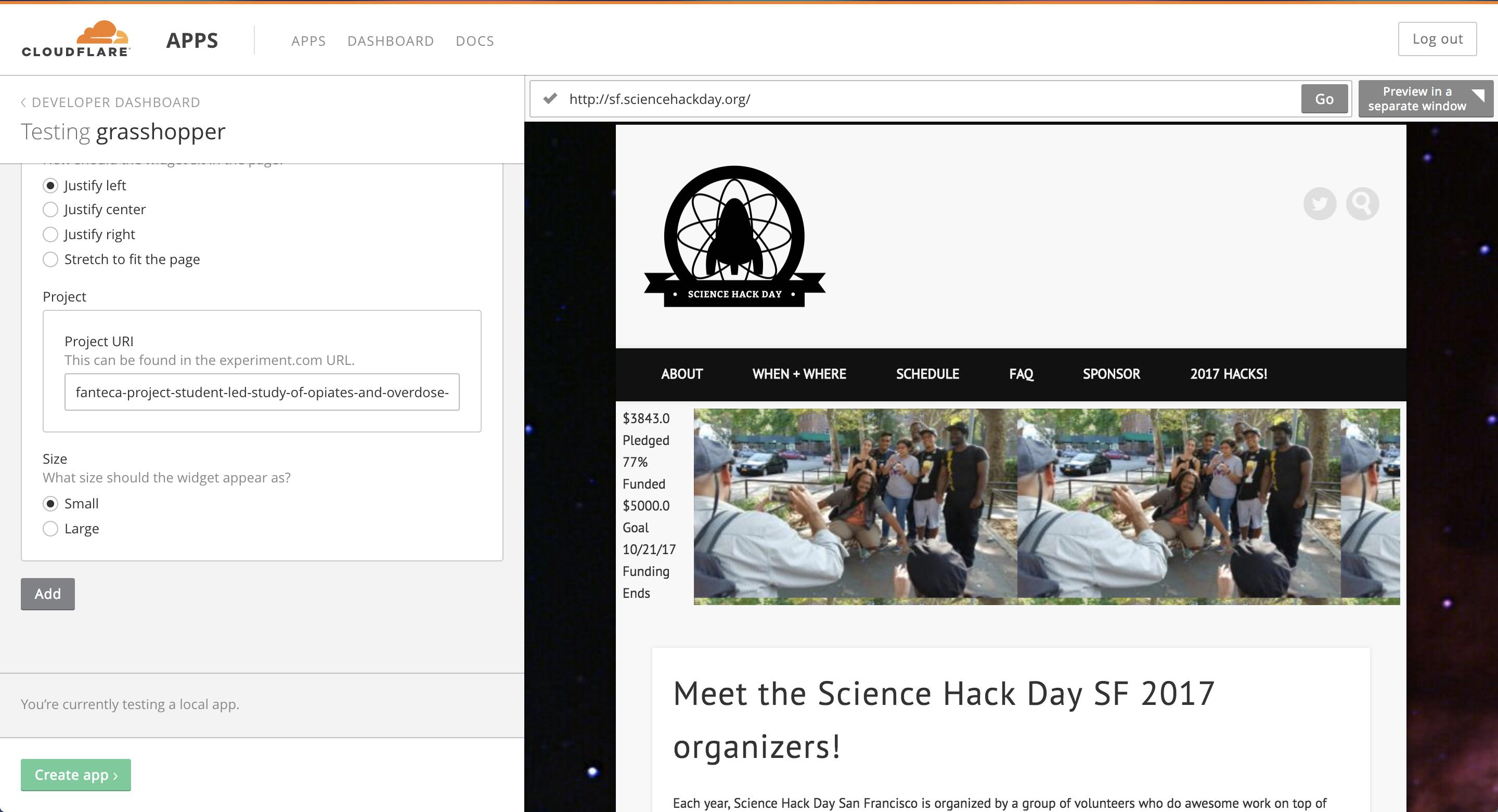Demo of grasshopper on Science Hack Day's home page using the Cloudlfare Apps previewer