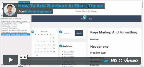 How To Add Sidebar In Bhari Theme