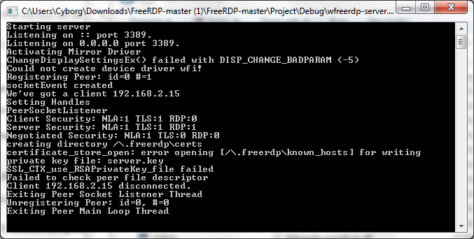 Trying to connect to wfreerdp-server, disconnected every time