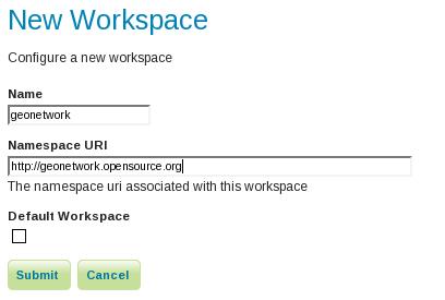 GeoNetwork New Workspace