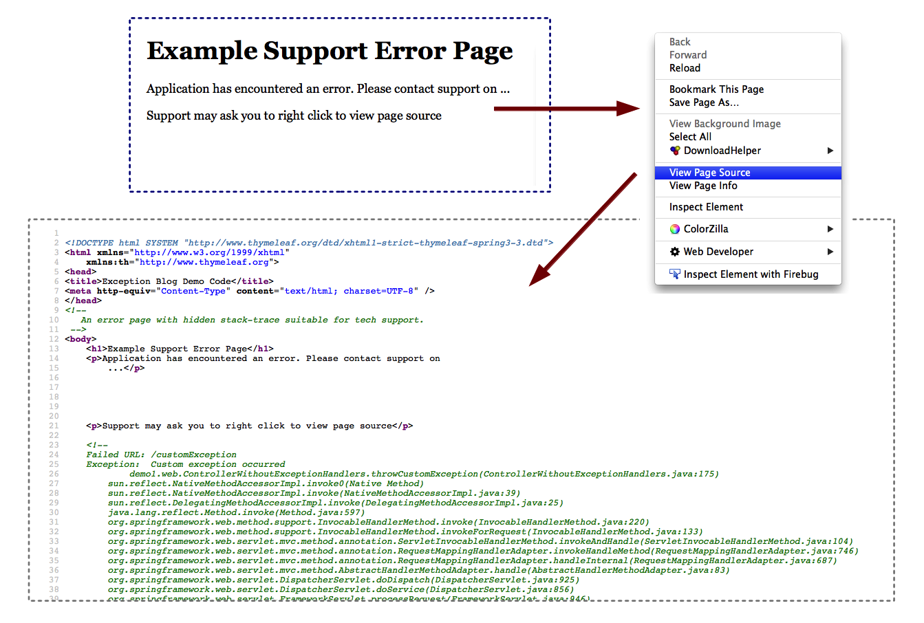 Example of an error page with a hidden exception for support