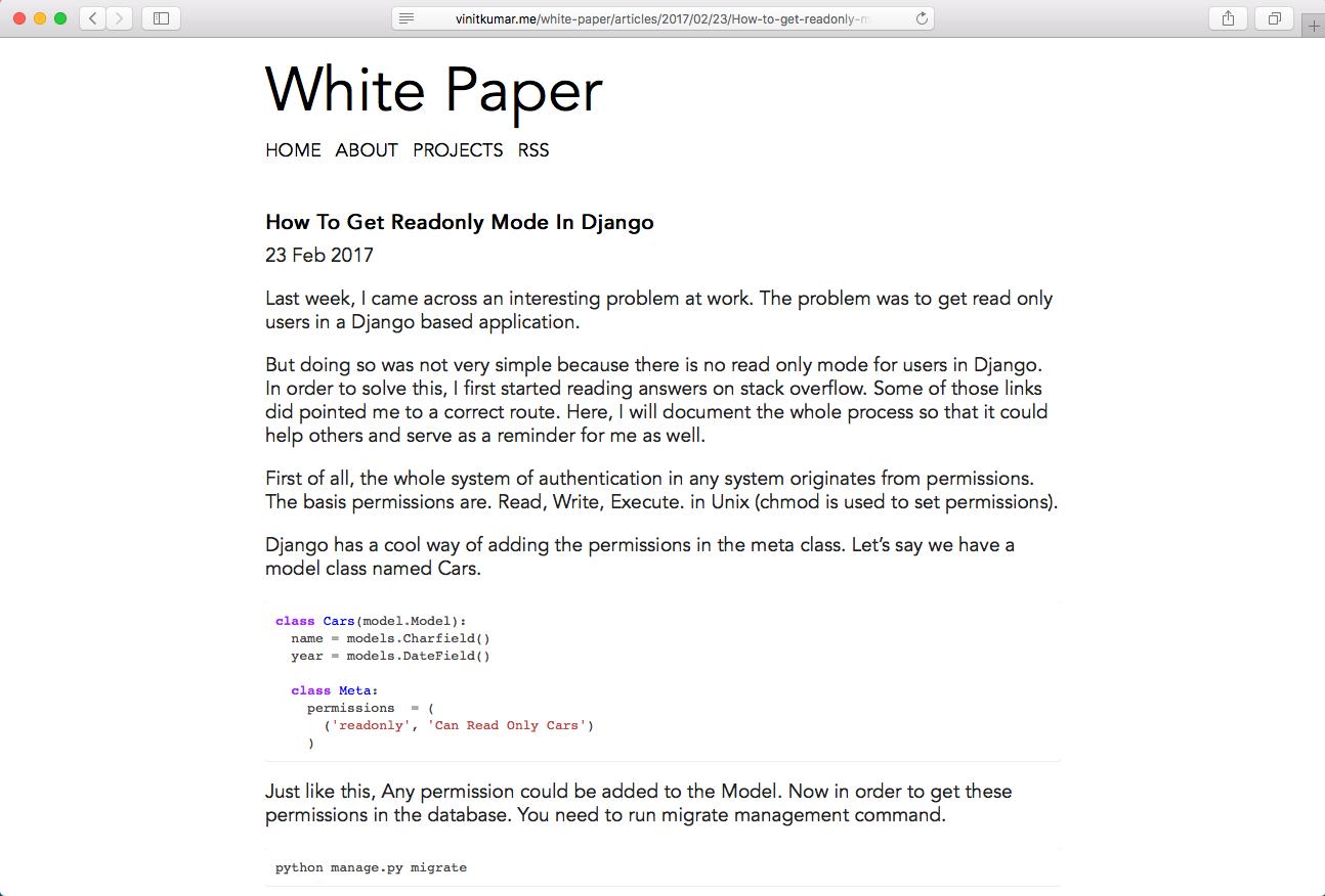 github vinitkumar white paper simple elegant and clean jekyll theme