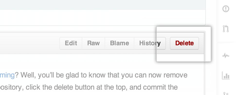 Delete a file using GitHub