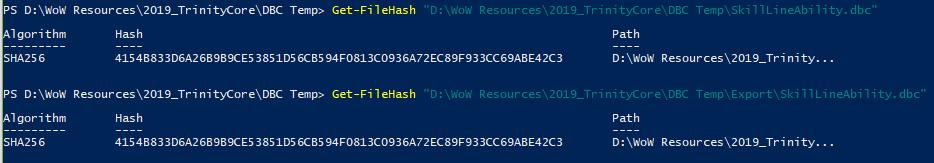 File hash of read/writing DBC
