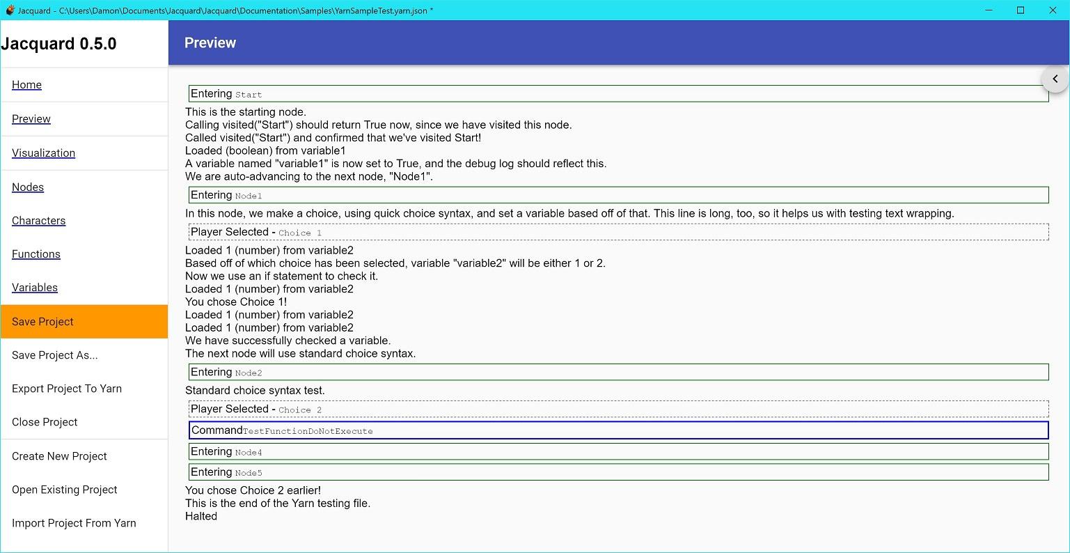 Jacquard debug log UI