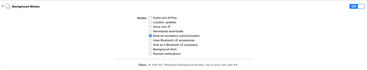 Enable External Accessory Background Mode