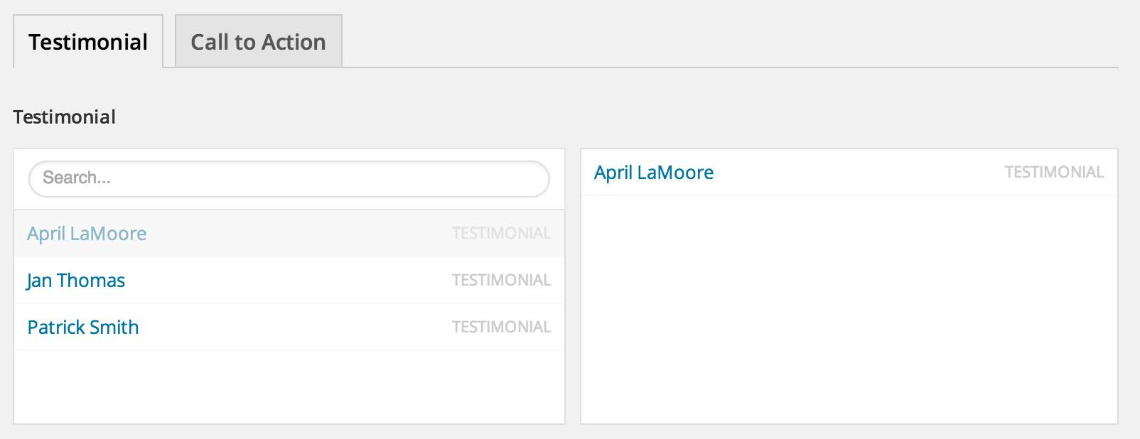 About page template's testimoniall