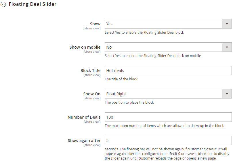 floating slider deal