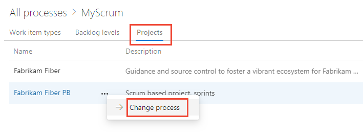 change the process used by project
