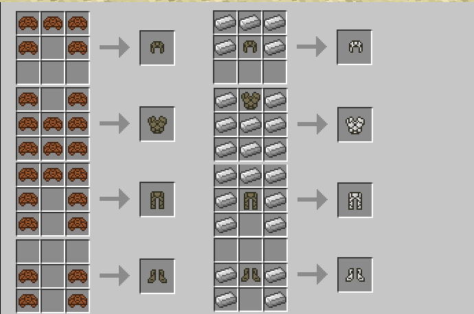 Base Recipe Left And Upgrade Template Right