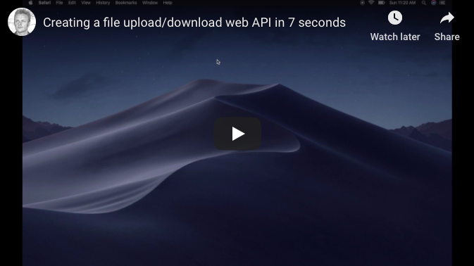 Creating an HTTP REST web API upload/download controller in 7 seconds