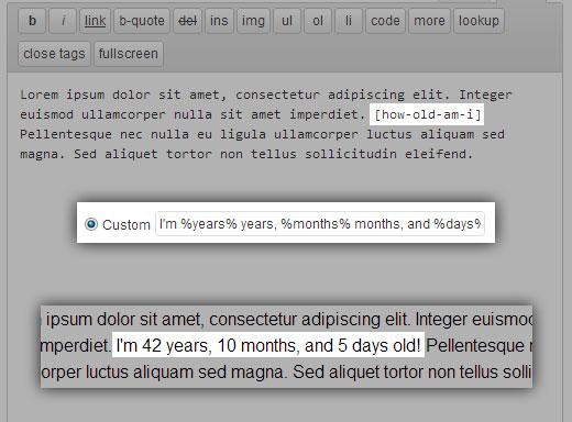 example using custom format