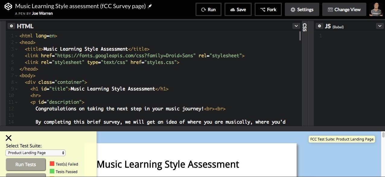 Music Learning Assessment (Codepen)