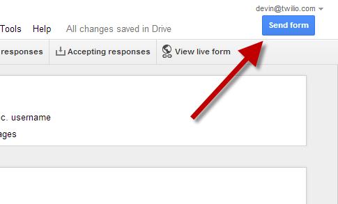 Click Send Form