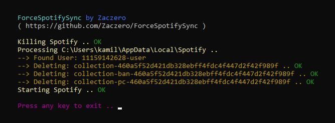 ForceSpotifySync preview screenshot