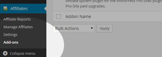 Affiliates - Add-ons menu