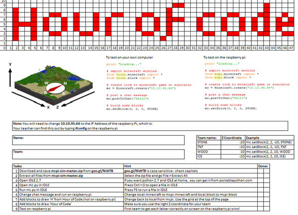 Screenshot of student instructions
