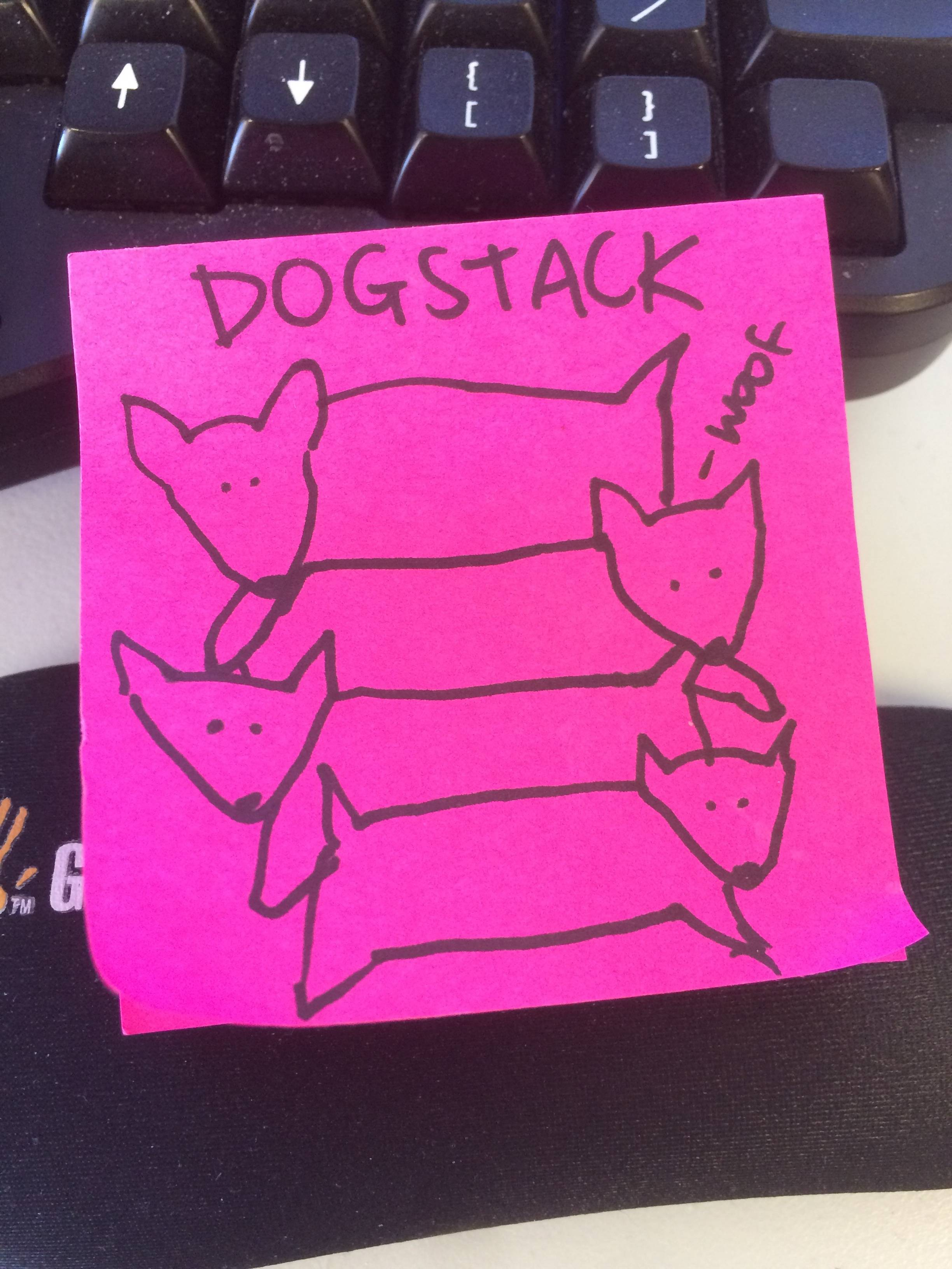 dogstack on a post-it note