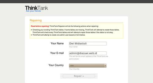 ThinkUp :: Repairing Db an Admin