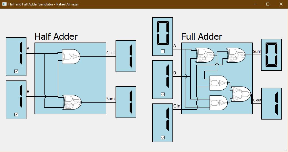Half and Full Adder Simulator