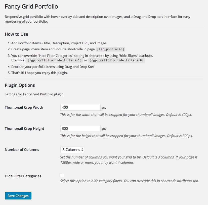 Fancy Grid Portfolio options