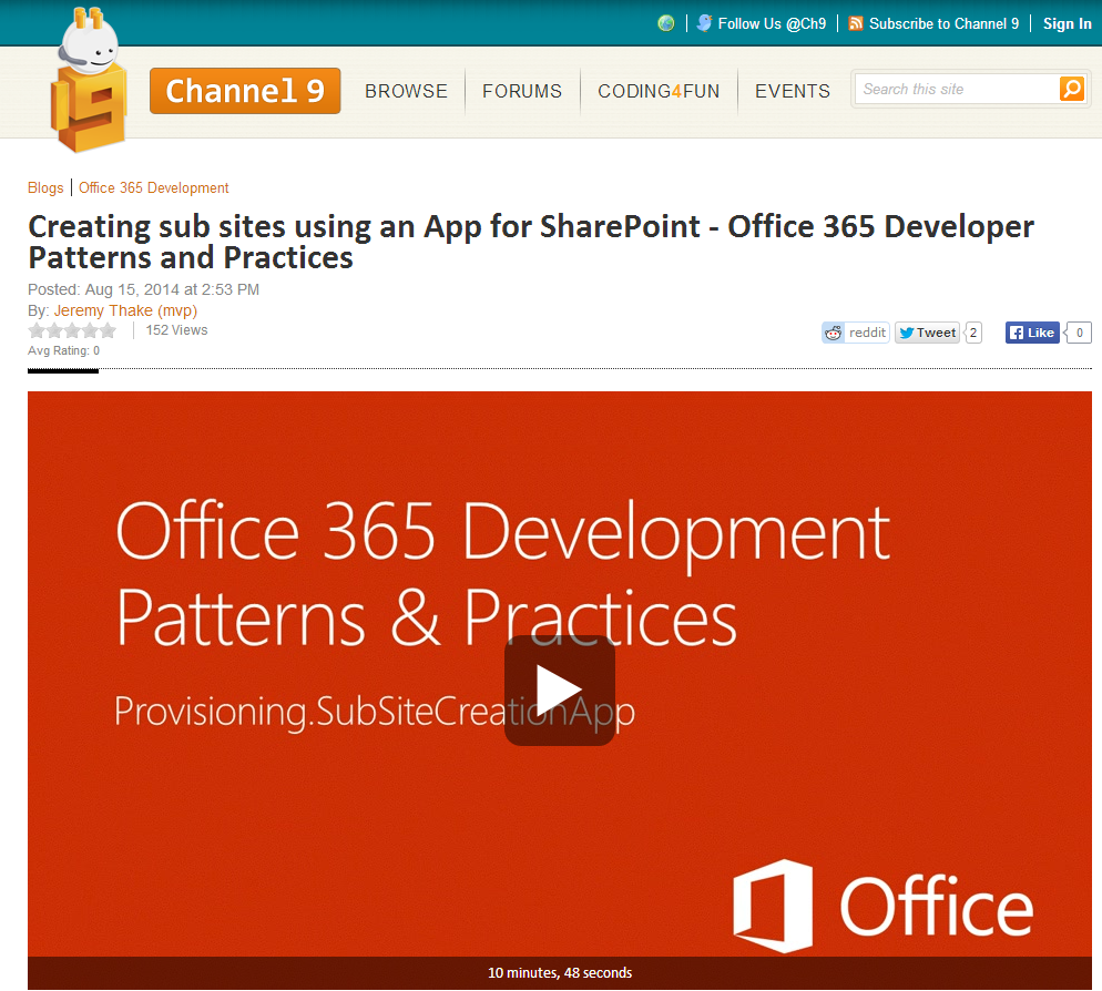 http://channel9.msdn.com/Blogs/Office-365-Dev/Creating-sub-sites-using-an-App-for-SharePoint-Office-365-Developer-Patterns-and-Practices