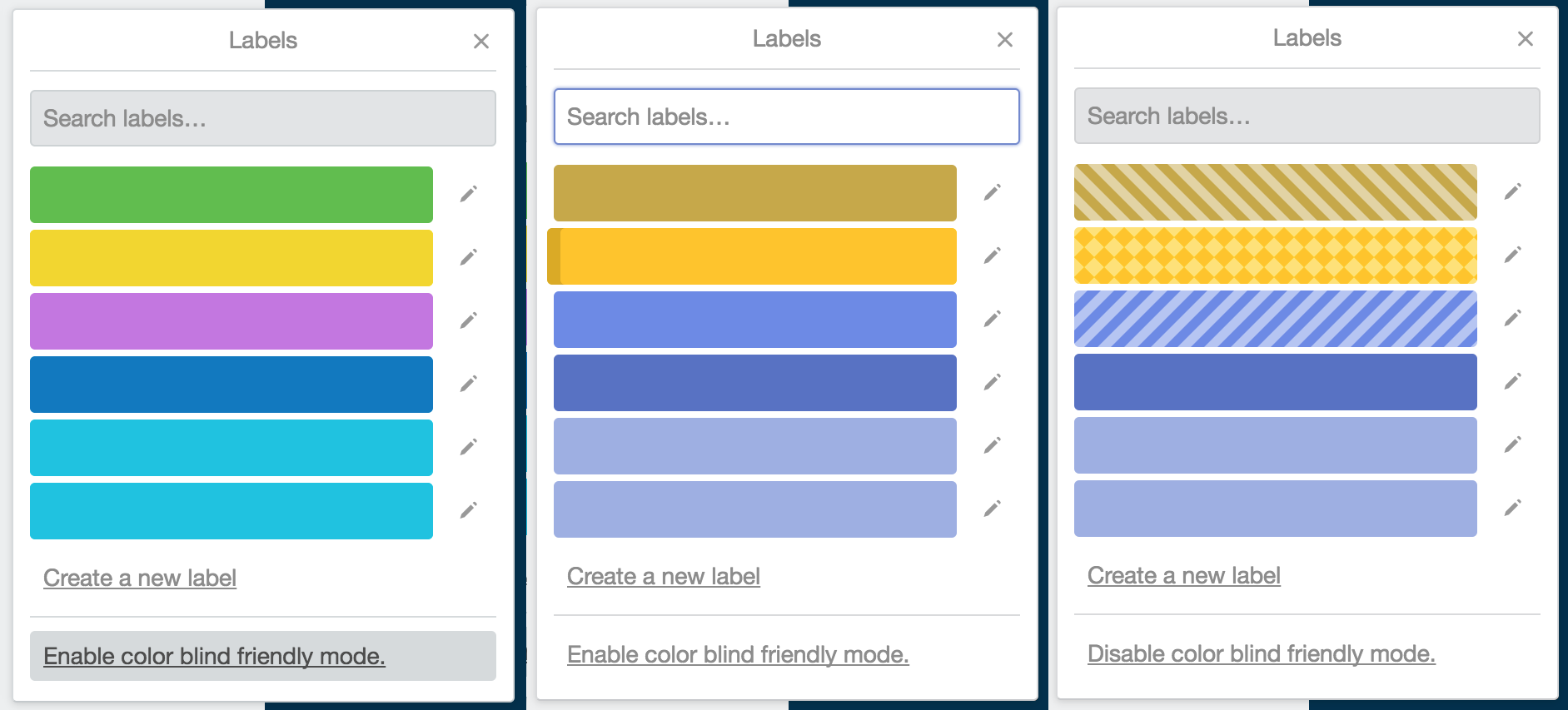 Trello labels as a color blind